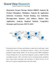 Hyperbaric Oxygen Therapy Market Growth, Trends, Segment To 2022: Grand View Research, Inc.