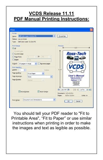 VCDS Release 11.11 PDF Manual Printing Instructions: