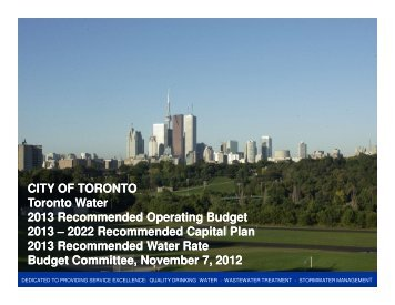 2013 Recommended Operating Budget - City of Toronto
