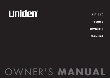 ELT 560 SERIES OWNER'S MANUAL - at Uniden