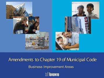 Amendments to Chapter 19 of Municipal Code - City of Toronto