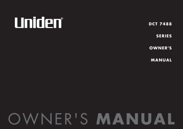 DCT 7488 SERIES OWNER'S MANUAL - at Uniden