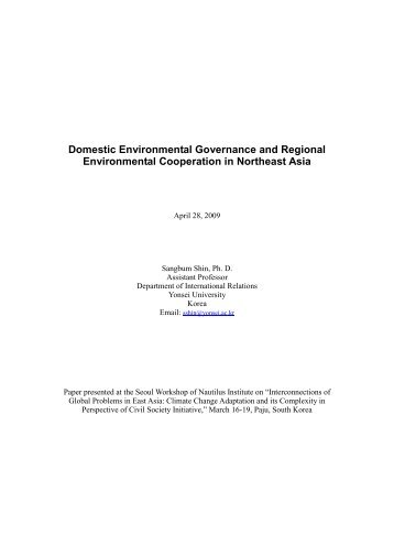 Domestic Environmental Governance and ... - Nautilus Institute
