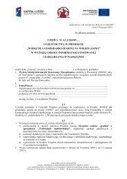 Umowa uczestnictwa w projekcie - WSISiZ dla Gospodarki Opartej ...