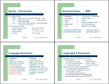 Syntax - Introduction Grammar Rules - BNF Language Sentences ...