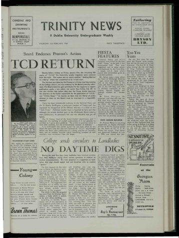 TeD RETURN - Trinity News Archive