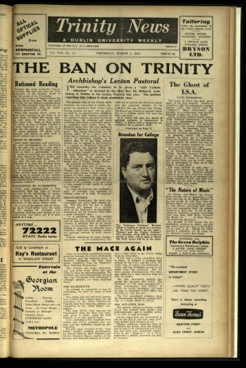 THE BAN ON TRINITY - Trinity News Archive