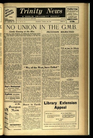 """NO UNION IN THE G.NI.B. - Trinity News Archive"