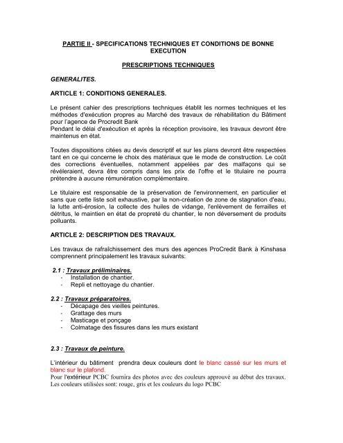 Partie Ii Specifications Techniques Et Conditions
