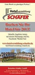 Buchen Sie Ihr Hotel für 2013! - Reisebüro Schäfer GmbH