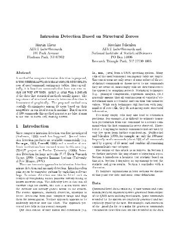 Intrusion Detection Based on Structural Zeroes Martin Theus ...
