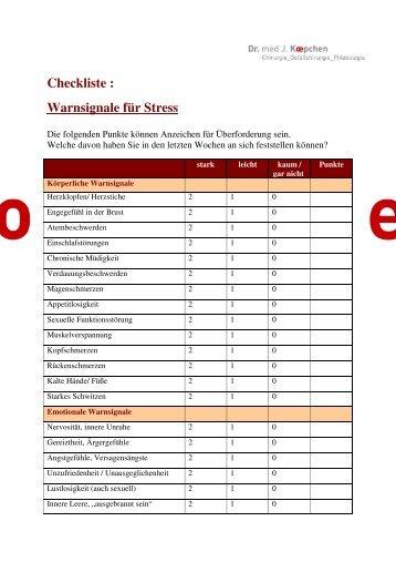 Checkliste : Warnsignale für Stress