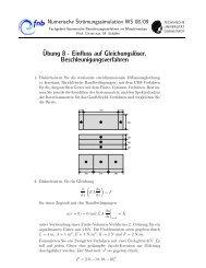 Ubung 8 - des Fachgebiets für Numerische Berechnungsverfahren