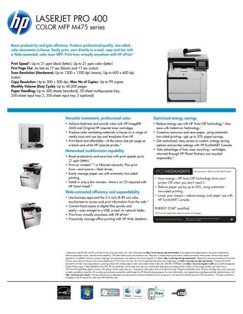 Hp Laserjet Pro 400 Color Mfp M475 Hewlett Packard