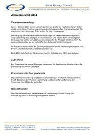 Jahresbericht 2004 - Swiss Energy Council