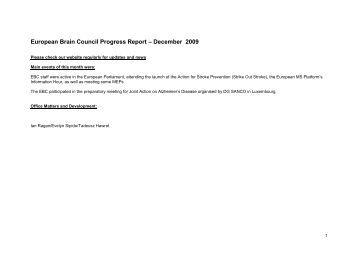 European Brain Council Progress Report – March 2006