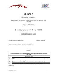 Monthly Report#16: Sep-Oct 2006 - Muscle - ERCIM