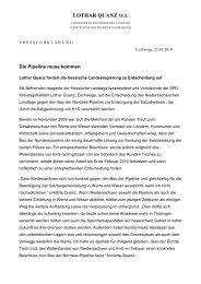 Die Pipeline muss kommen Presse - Quanz, Lothar