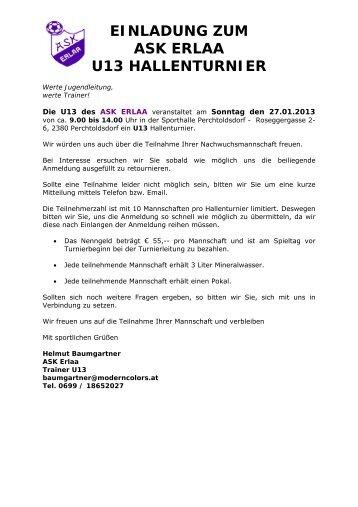 einladung zum 12. hallenturnier des sc wörthsee am 12. und 13, Einladung