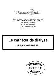 Le cathéter de dialyse