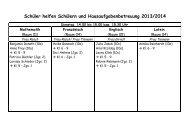 Einsatzplan Hausaufgabenbetreuung und