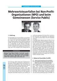 Mehrwertsteuerfallen bei Non-Profit- Organisationen (NPO) und ...