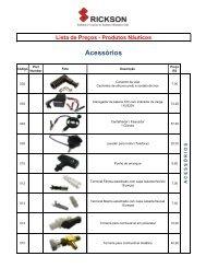 Lista de Preços - Produtos Náuticos Acessórios - Porto Náutica