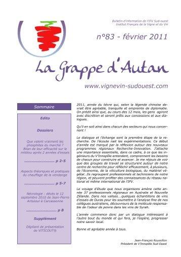 La Grappe d'Autan - Institut Français de la Vigne et du Vin Sud-Ouest