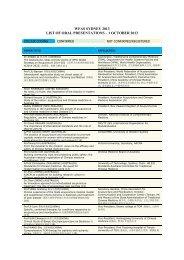 WFAS SYDNEY 2013 LIST OF ORAL PRESENTATIONS – 1 ...