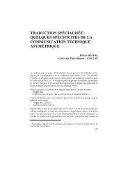 TRADUCTION SPÉCIALISÉE : QUELQUES SPÉCIFICITÉS DE LA ...