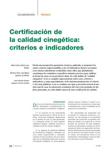 certificación de la calidad cinegética: criterios e indicadores