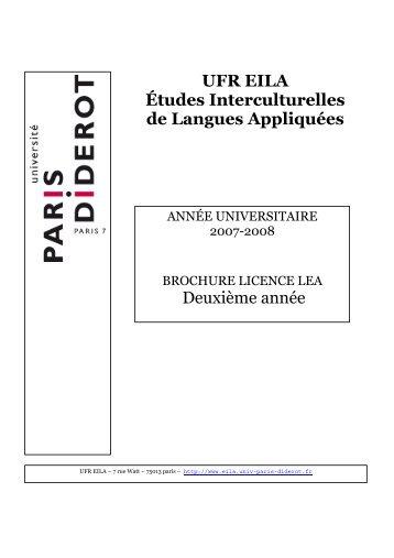 Deuxième année UFR EILA Études Interculturelles de Langues ...