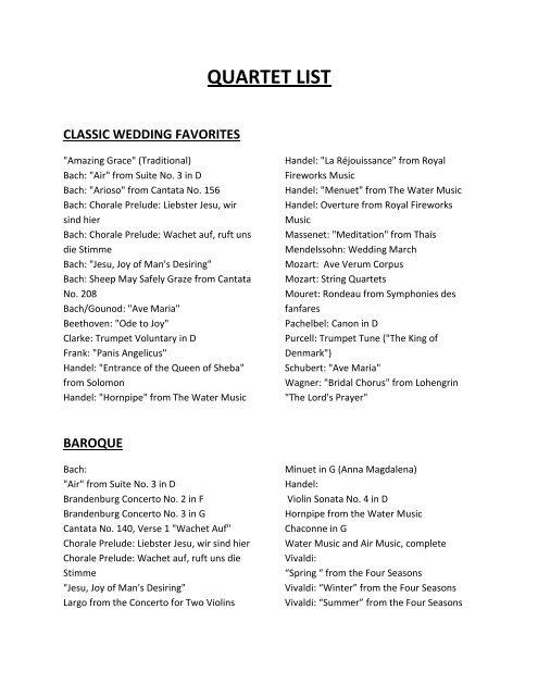 QUARTET LIST CLASSIC WEDDING FAVORITES - Vanderbilt Strings