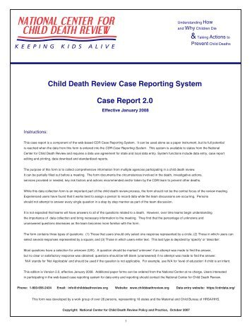 Child Death Review Case Report Form - Keeping Kids Alive.org