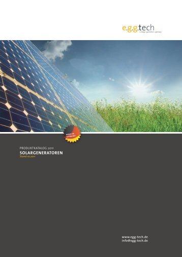 Produktkatalog Solargeneratoren - egg tech