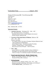 Curriculum Vitae January 2011 - Tom Silverman, MD