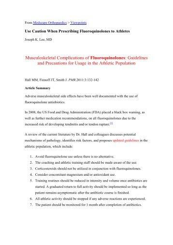 Musculoskeletal Complications of Fluoroquinolones - Revdesportiva.pt