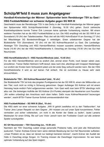 Schülp/W'feld II muss zum Angstgegner - TSV Owschlag