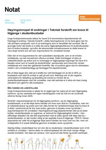 Høyringssvar TEK studentbustadar (PDF) - Unge Funksjonshemmede