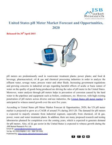 JSB Market Research: United States pH Meter Market Forecast and Opportunities, 2020