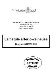 La fistule artério-veineuse - St. Nikolaus-Hospital Eupen