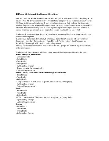 2013 Jazz All State Audition Rules and Conditions - Music - New ...