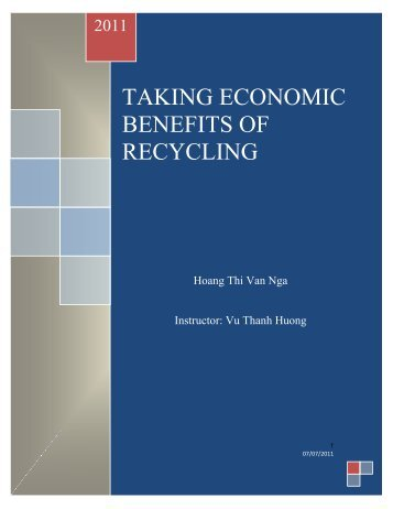 Taking economic benefits of recycling: Hoang Thi Van Nga