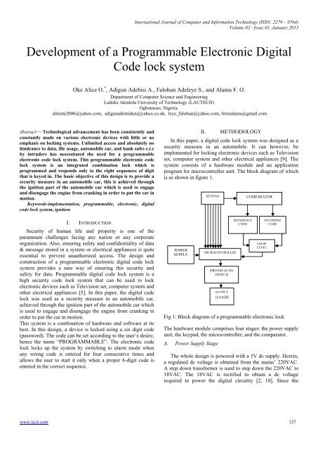 Development of a Programmable Electronic Digital Code lock system