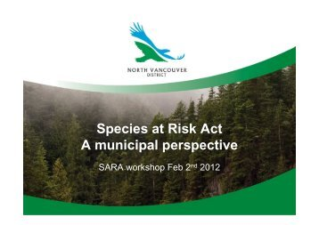The District of North Vancouver and Species at Risk - M. Brown DNV