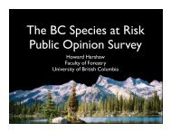 The BC Species at Risk Public Opinion Survey (presentation ...