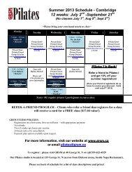 Summer 2013 Class Schedule