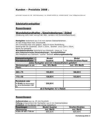 Preisliste Rankgitter & Zubehör 2008/2009 (PDF ... - Grüner Leben