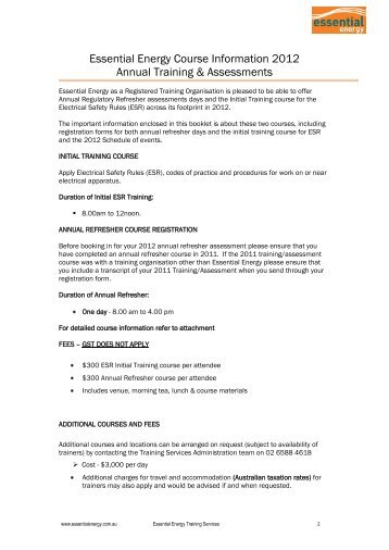 Essential Energy Course Information 2012 Annual Training ...