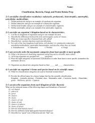 Name: Classification, Bacteria, Fungi, and Protist Retake Prep 1) I ...